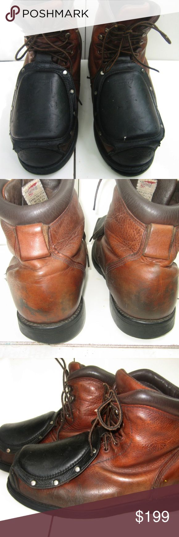 """RED WING 4476 Metatarsal Steel Toe Ankle Boots, 9 MET GUARD WORK/SAFETY LEATHER ANKLE BOOTS : used condition.   U.S.A Made.. Brown leather with steel toes & steel shank. 6 eye-lets.Black metatarsal guard for toe safety, welding. Oil slip resistance . Removable cushioned polysorb insoles by SPENCO.  Silver-tone stud accents and pull tabs. Stock #. 4476-08105.   Size 9. U.S. Size 42 EU. Widest sole 4.5"""". Full length 12.25"""".   Wear: Scratches, scrapes, scars, bruises, cuts, scuffs, & dings…"""