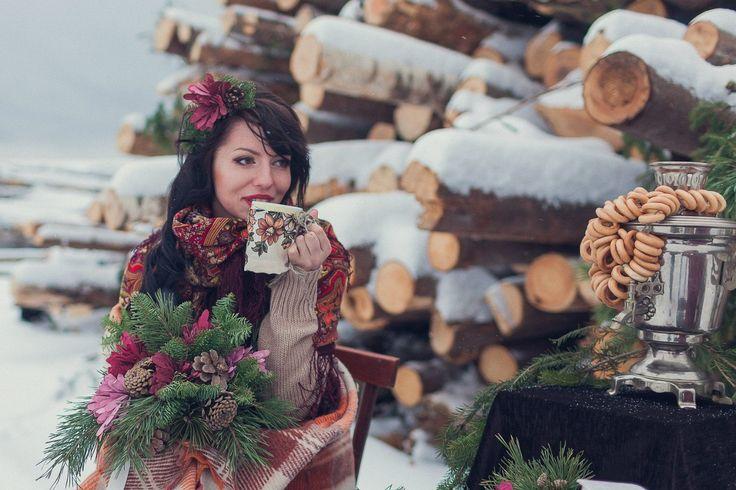 Красивая невеста, зимняя сьемка.