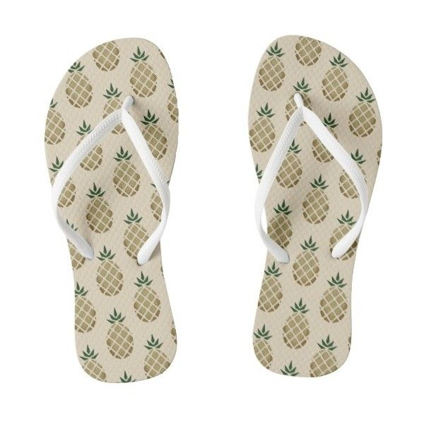 Tropical Hawaiian Pineapple Stencil Flip Flops ($34) ❤ liked on Polyvore featuring shoes, sandals, flip flops, pineapple shoes, hawaiian shoes, hawaiian flip flops, hawaiian sandals and pineapple flip flops