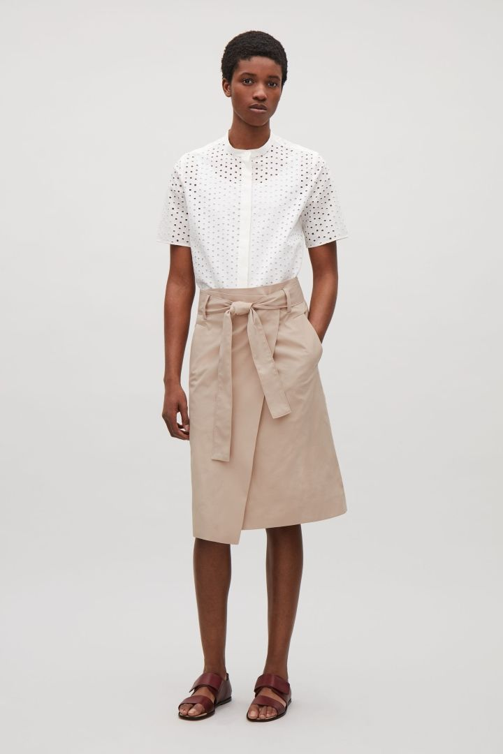 COS Belted wrap-over skirt in Khaki Beige
