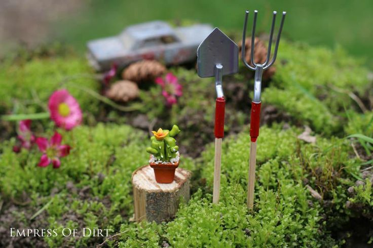 Even fairies need garden tools! Make your own fairy garden - easy step by step instructions. Kids love them! #spon