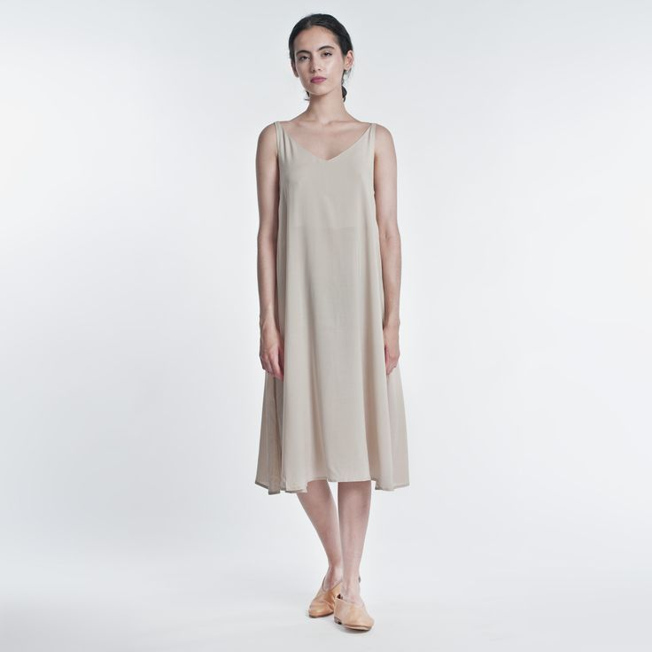 Summer Dress Beige Elementy #dress #summer #midi #beige #elementy #minimal #classic #polishfashion