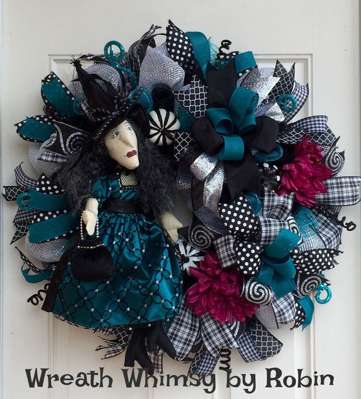 halloween deco mesh wreath in black teal with witch doll front door - Halloween Deco