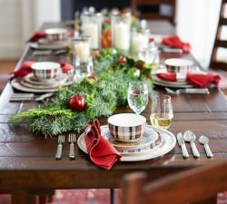 Decorate the table - simple, but love the dishes - Holiday Decorations | Pottery Barn #ad #christmas #tablesetting