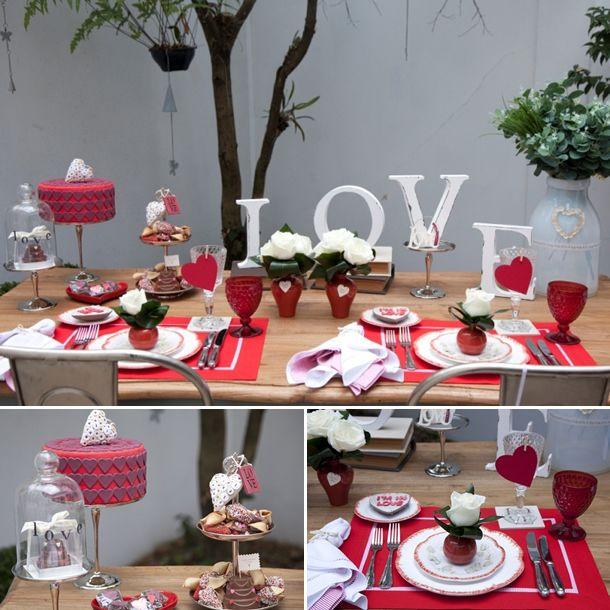Mesa Dia dos Namorados/ Decoração Dia dos Namorados/ Valentine's Day Dinner