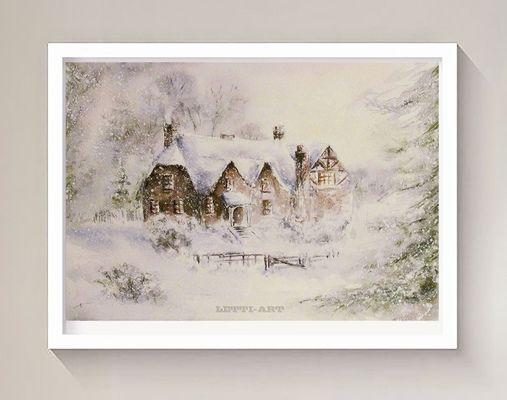 """Картина """"Зимний домик на опушке леса"""".  Акварель. Формат картины А4. Картина оформлена в раму под стекло.  #акварель #пейзаж"""