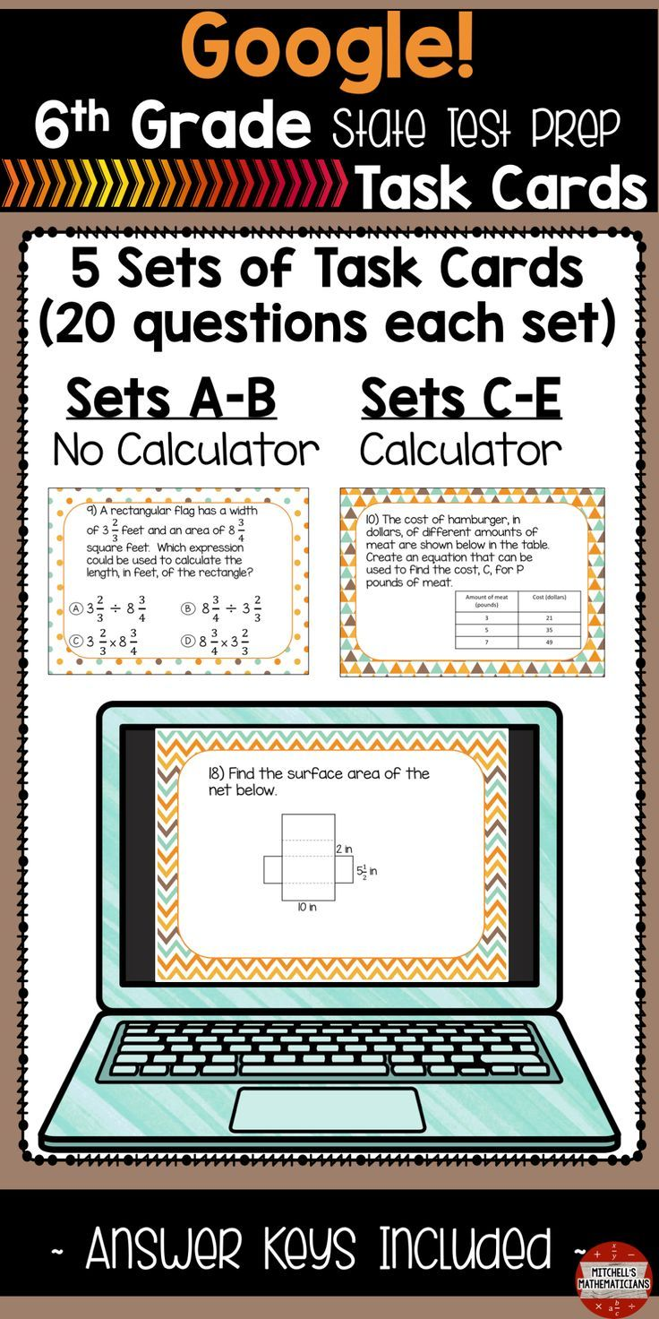 6th grade Math Test Prep Task Cards Using Google | Secondary