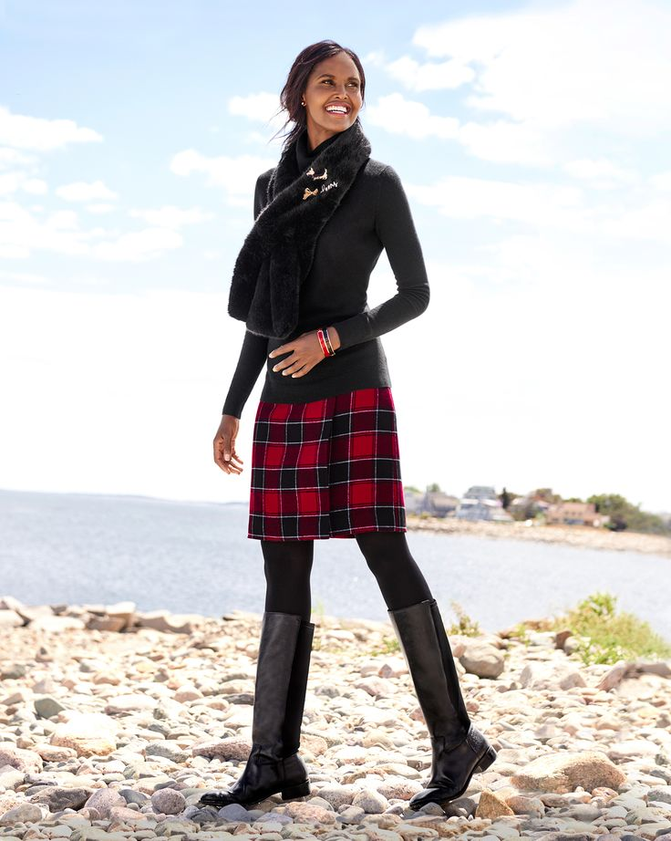 A winter plaid a-line skirt with boots and sweaters is an instant staple.