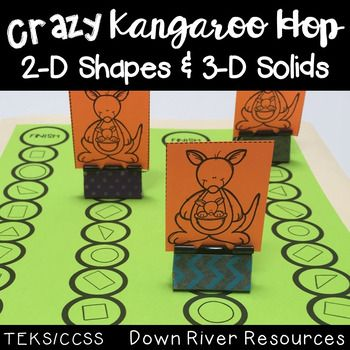 2-D Shapes and 3-D Solids: Crazy Kangaroo Hop focuses on identifying two-dimensional shapes, classifying regular and irregular figures, identifying three-dimensional shapes, describing two-dimensional attributes of three-dimensional real world solids.