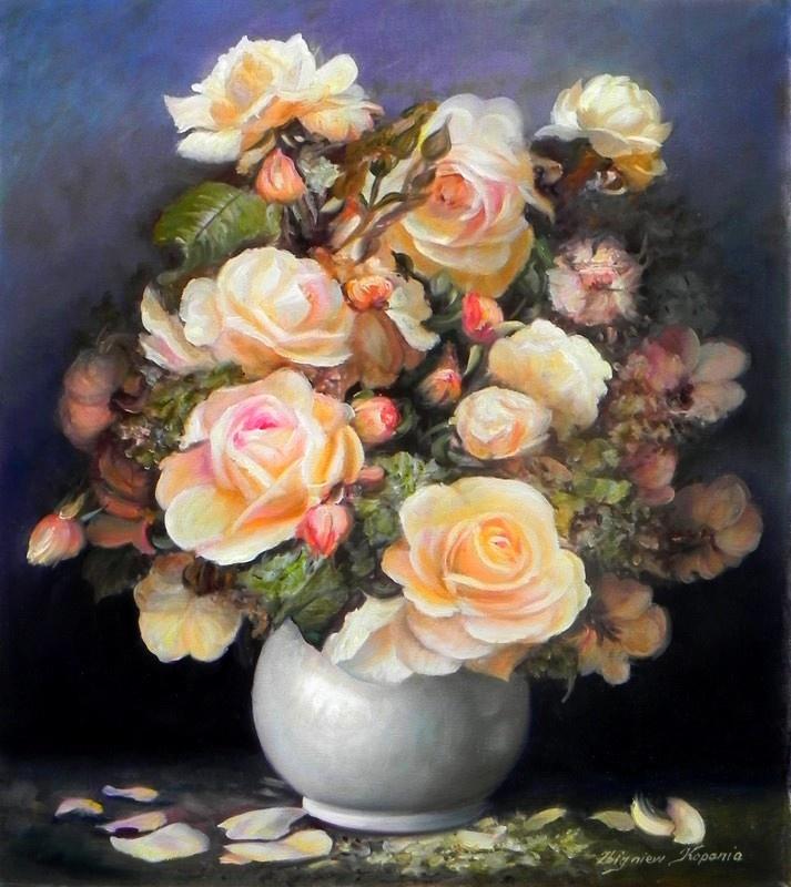 Zbigniew Kopania (b.1949) — Pink Roses  (713x800)