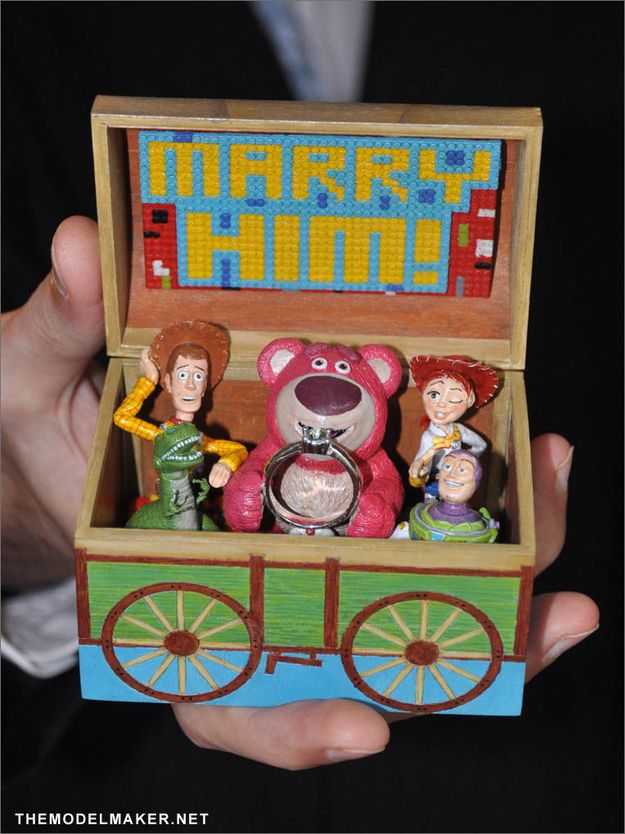 C'mon! You're not going to argue with the toys from Toy Story 3, are you? | 28 Wedding Proposals Every Geek Dreams Of