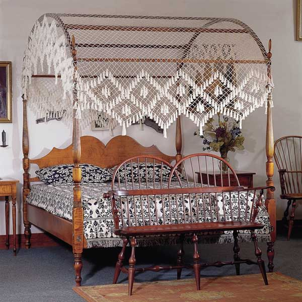 When Natalya returns home to Belle Maison, she sleeps in a Sheraton field bed like this one (her mother Caro's old bedroom, before her marriage to Alec).