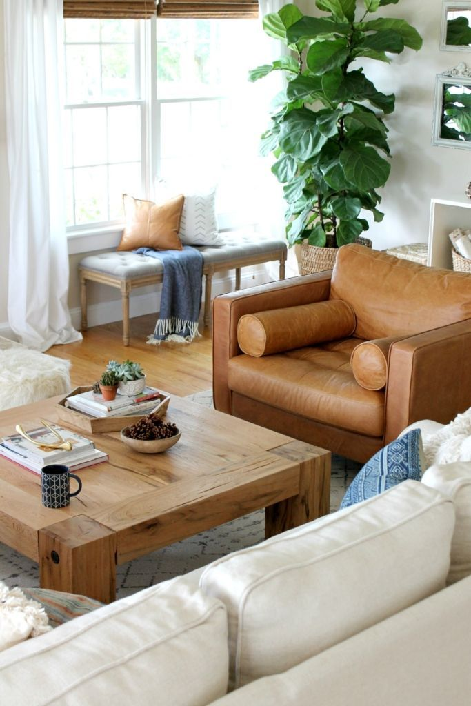 Modern Farmhouse Fall Family Room Tour-fiddle fig tree and caramel leather chair