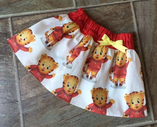 Daniel Tiger Skirt, Daniel Tiger Birthday, Daniel Tiger Party, Daniel Tiger Fabric, LIMITED AVAILABILITY, Sizes 3 6 9 12 18 24 2T 3T 4T 5T 6 by LittleGiggleShop on Etsy https://www.etsy.com/listing/280311444/daniel-tiger-skirt-daniel-tiger-birthday