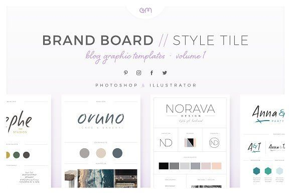 Brand Boards / Style Tiles VOL 1 by AM Studio on @creativemarket You only have to drop in your content and save it. A professional presentation is just a few clicks away. Inside you'll find 10 easy to edit, fully customisable Brand Board / Style Tile templates, created in both Photoshop & Illustrator and optimised for use in Blog Posts, Pinterest or you can print them out for face-to-face meetings too!