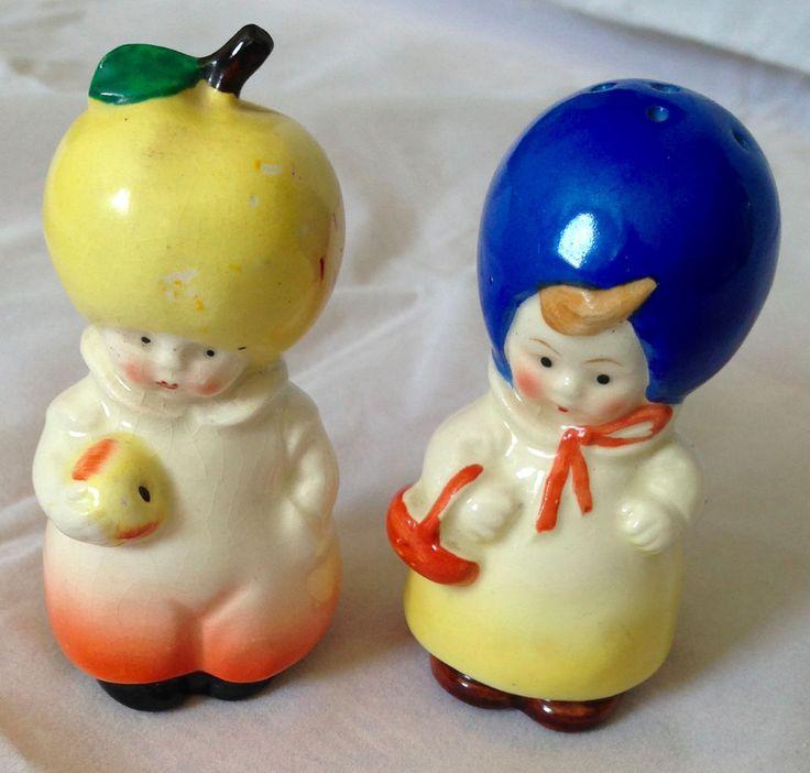 Vintage Goebel Germany Plum Blueberry Apple Lemon Lady Salt Pepper Marked