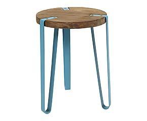 Tabouret SPARKLE métal et bois d'orme, turquoise et naturel - H45