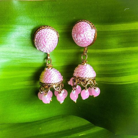 Pink Silk Jhumka