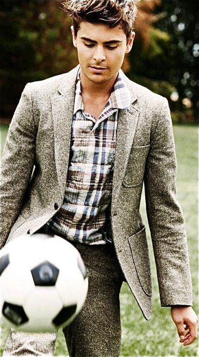 Zac Efron- You can't go wrong with a tweed blazer (and in my house, a soccer ball!!!)