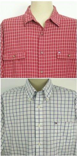 d8bd9ae6 Vtg Tommy Hilfiger Shirts Mens Size XL Plaid Box Logo S/S Button Flag Lot  of 2 #TommyHilfiger #ButtonFront