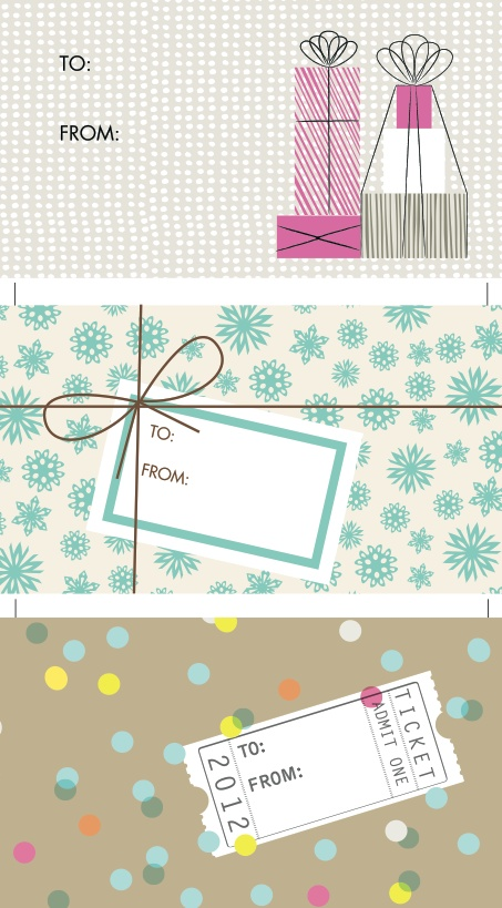 Free Printable Gift Tags http://www.jessicajonesdesign.com/downloads/hellolucky_gift_tags_2012.pdf #Christmas #holiday #gift #tags #free