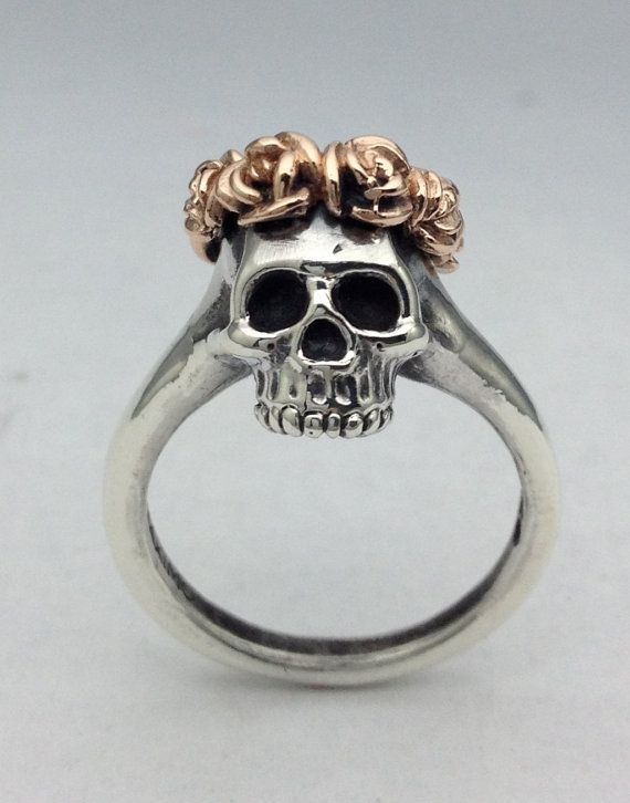 Silver Skull Ring with Rose Crown in Rose by ORFEBREGOLDSMITHNYC