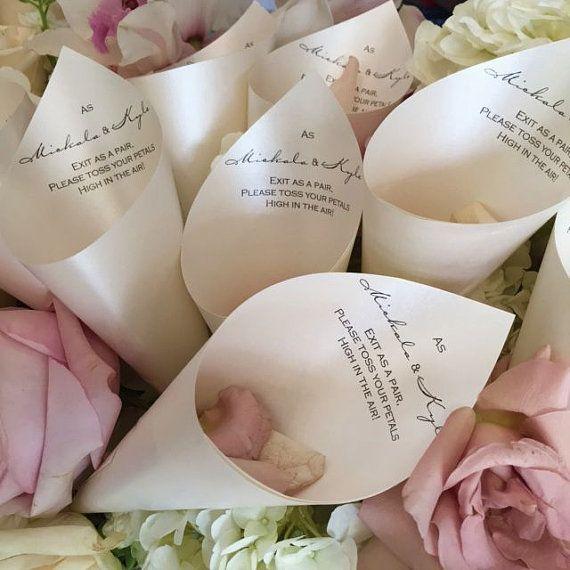 Wedding Petal Favor Cones with Verse Quatrz by StationeryBlissShop