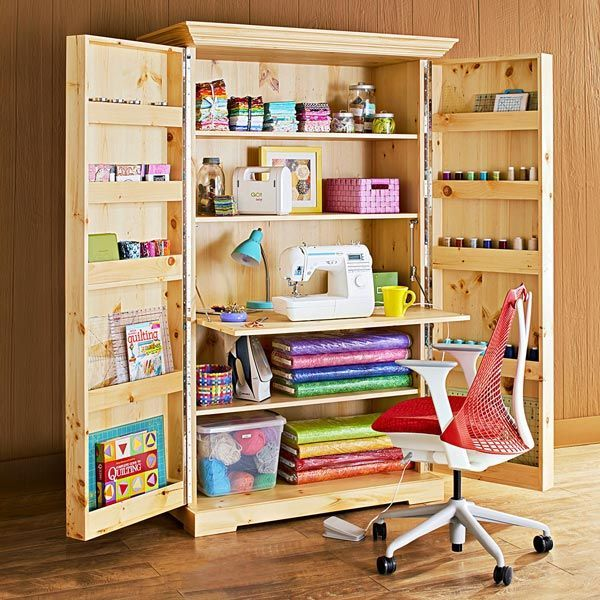Who Wouldn T Love To Get These Plans And Build This Craft Unit Craft Storage Cabinets Craft Room Design Sewing Room Storage