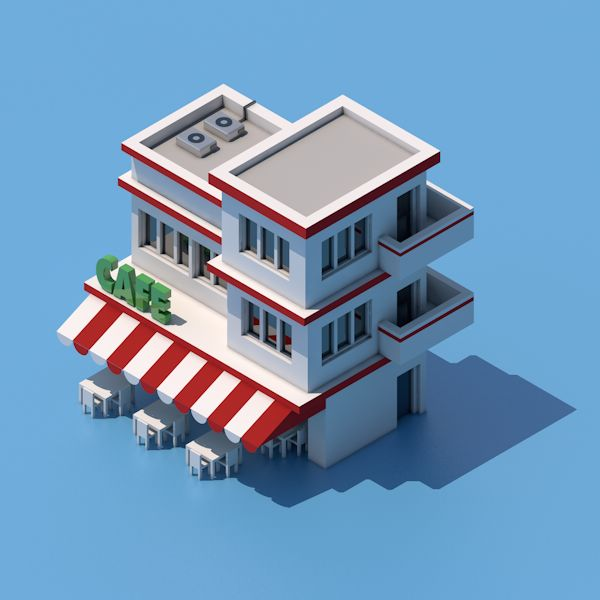 Isometric Cafe on Behance by Pixego Toys