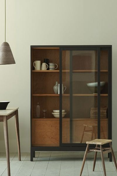 Glass door cabinet, love the glaze and timber interior combo
