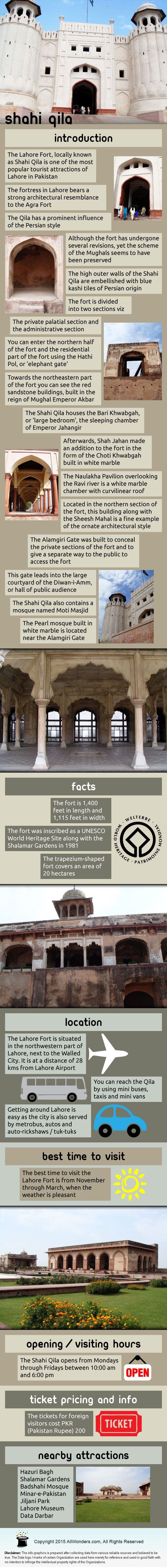 Infographic showing facts and information about Shahi Qila in Lahore, Pakistan. Know about its location, best time to visit, nearby attractions and more.
