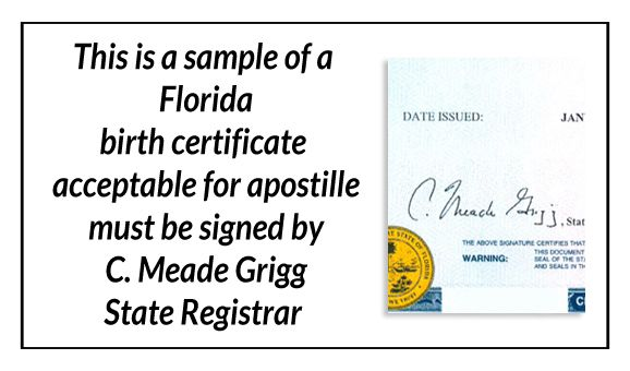 this is a sample of a florida birth certificate acceptable for
