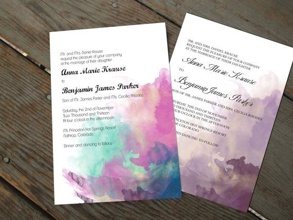 Watercolor Wedding Invitation Set Traditional By Travelerspaperie
