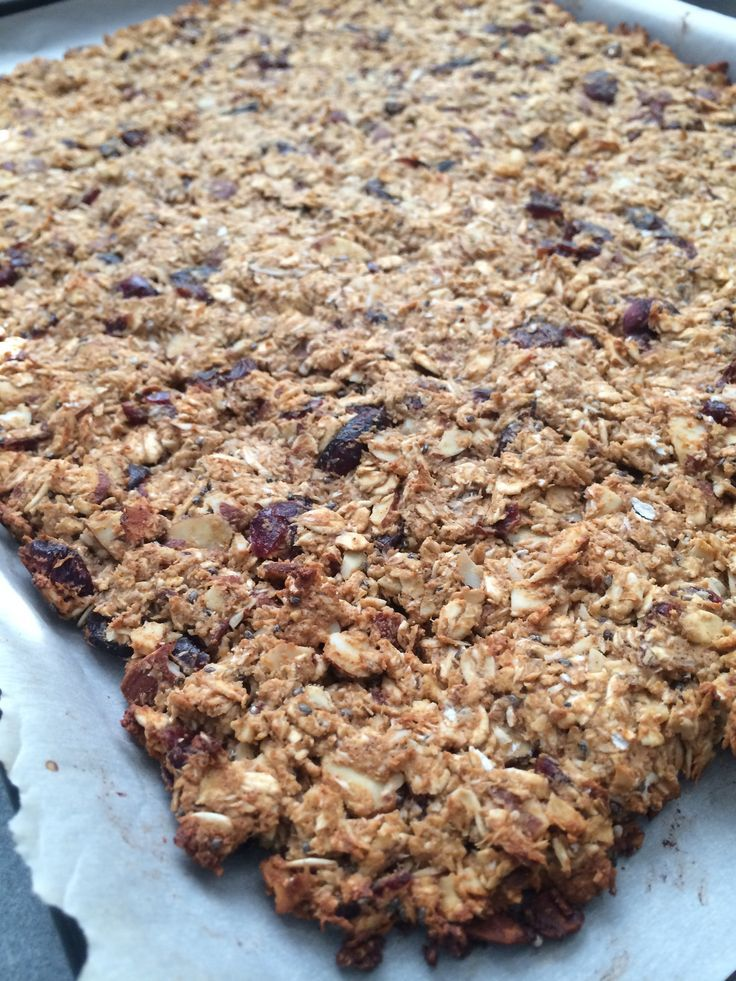 Fresh, homemade, gluten free protein granola. I get it crispy on the corners, yet soft and chewy in the middle. It reminds me of an oatmeal raisin cookie, but with dried cranberries instead of raisins