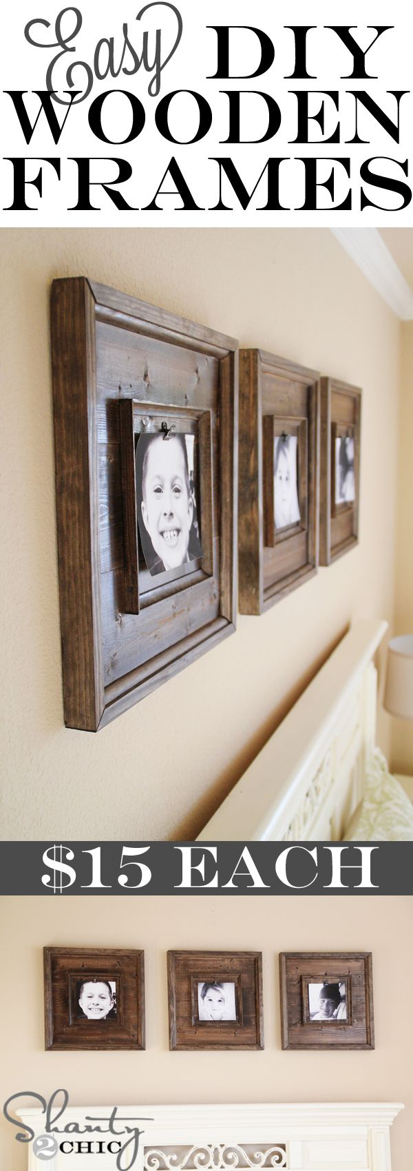 Cheap and Easy DIY Wooden Frames!  So cute!