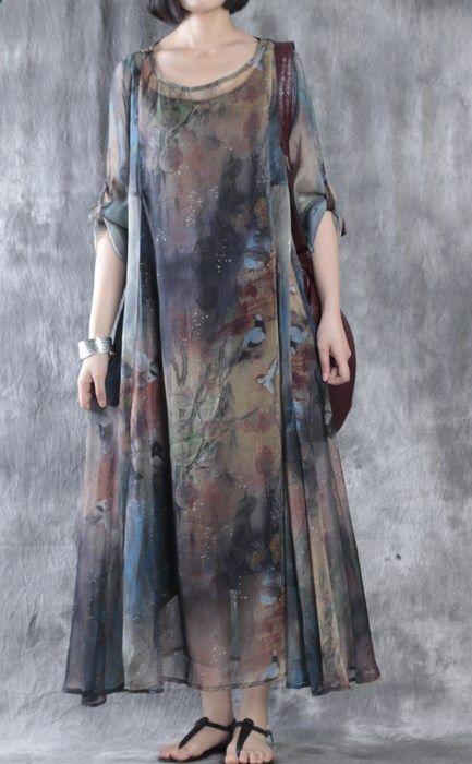 Brown floral Maxi-Kleider plus Größe Chiffon-Kleid zweiteilig   – magic