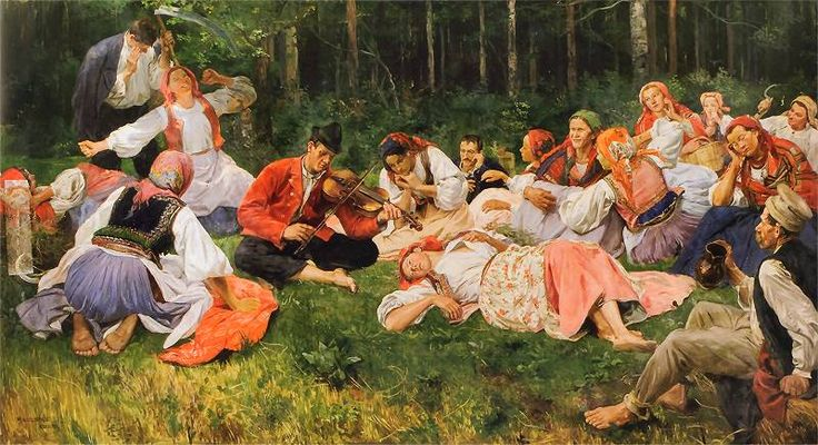 """Wincenty Wodzinowski, """"Odpoczynek żniwiarzy (Grajek):, ok. 1893."""