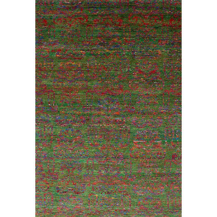 eCarpetGallery Hand-Knotted Sari Silk Green Sari Silk Rug (6'0 x 8'10) (Green Rug (6' x 8')), Size 6' x 8'
