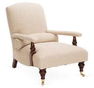 Edwardian Linen Chair, Cream  OneKings lane  sale $4,199.00   9-30-14