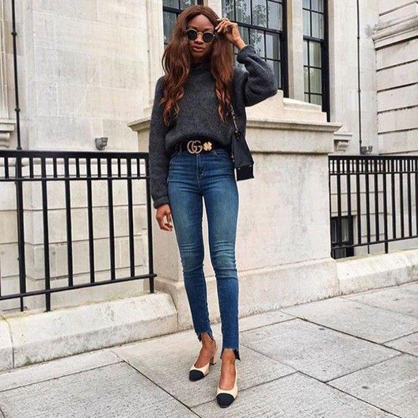 Belt: tumblr sweater grey sweater gucci jeans blue jeans denim skinny jeans slingbacks chanel