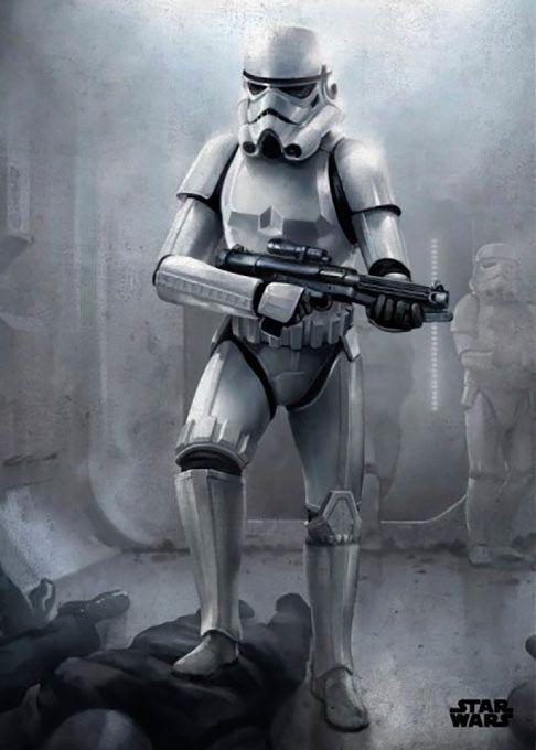 Poster metálico Stormtrooper, 45 x 32 cm. Star Wars Episodio IV  Un poster metálico con la imagen de un Stormtrooper rifle en mano, como las tropas de asalto vistas en Star Wars Episodio IV y  que proporciona una larga duración al ser fabricado en metal y de fácil montaje.