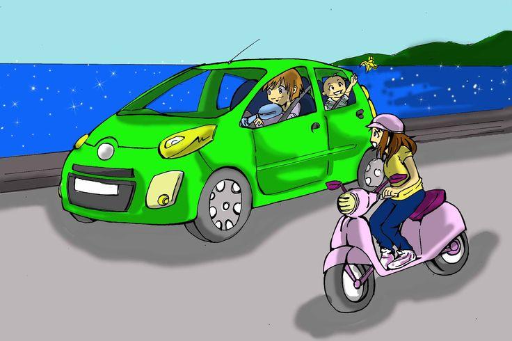 Manuale di sicurezza stradale, illustrazione random. Commission