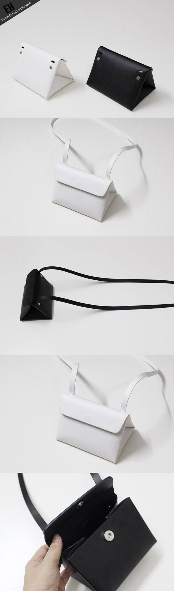 Leather Clutch bag shoulder bag triangle black white for women leather crossbody bag