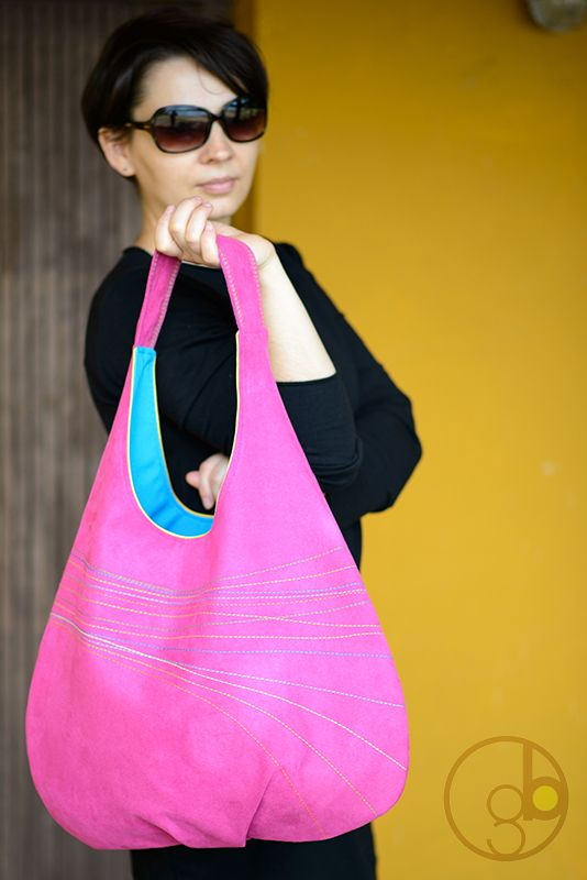 hobo bag LINES series - colorful lining and embroidered lines.