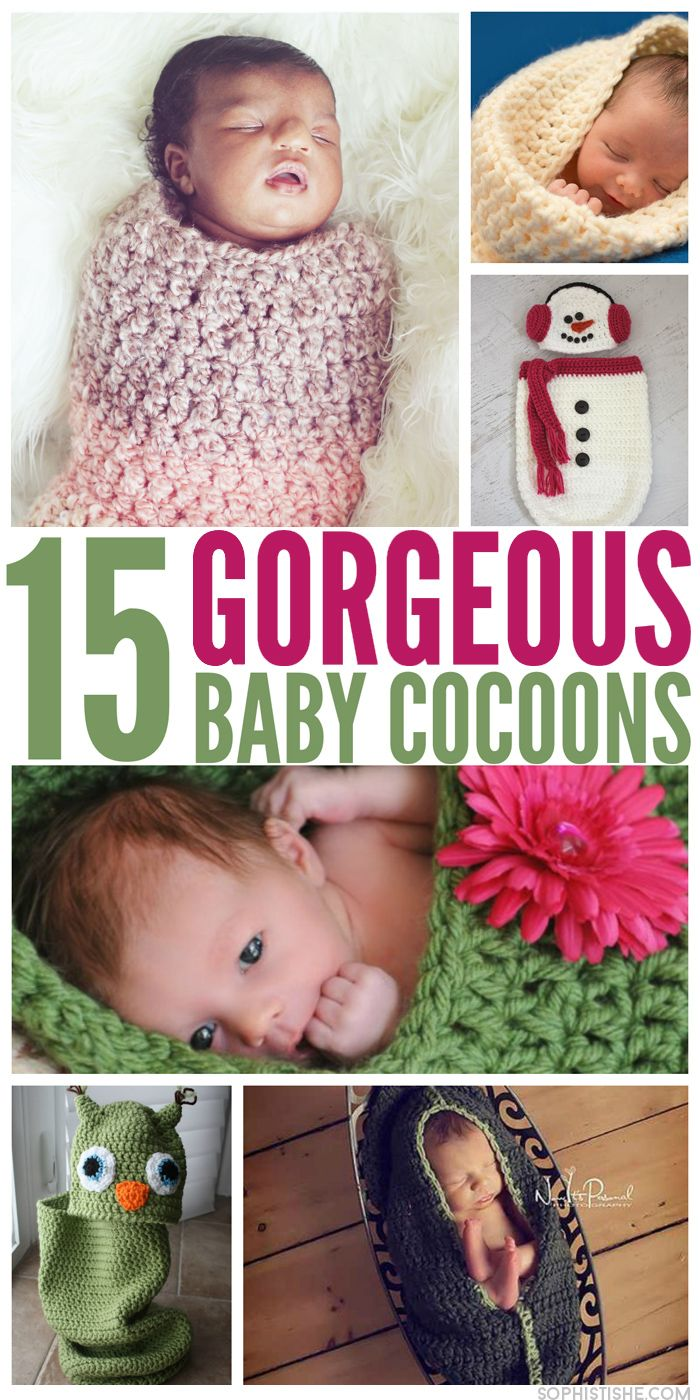 15 Free Baby Cocoon Patterns and tutorials to knit and crochet this winter.