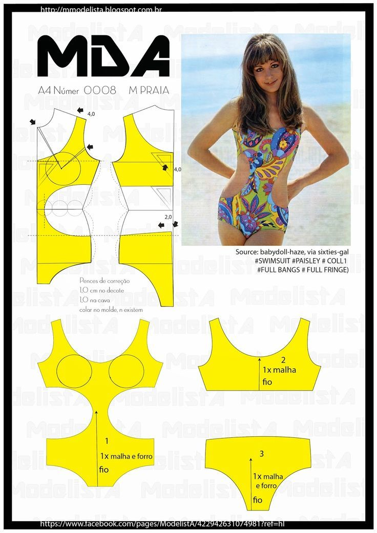 One piece swimsuit, patterns instructions