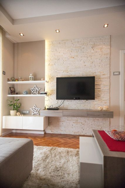 Comfortable Contemporary Living Room Design Interior with Natural TV on the Wall Ideas Used Brick Material Ideas