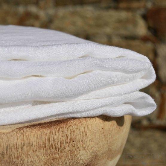 Gaze de lin lavé blanc vendu au mètre