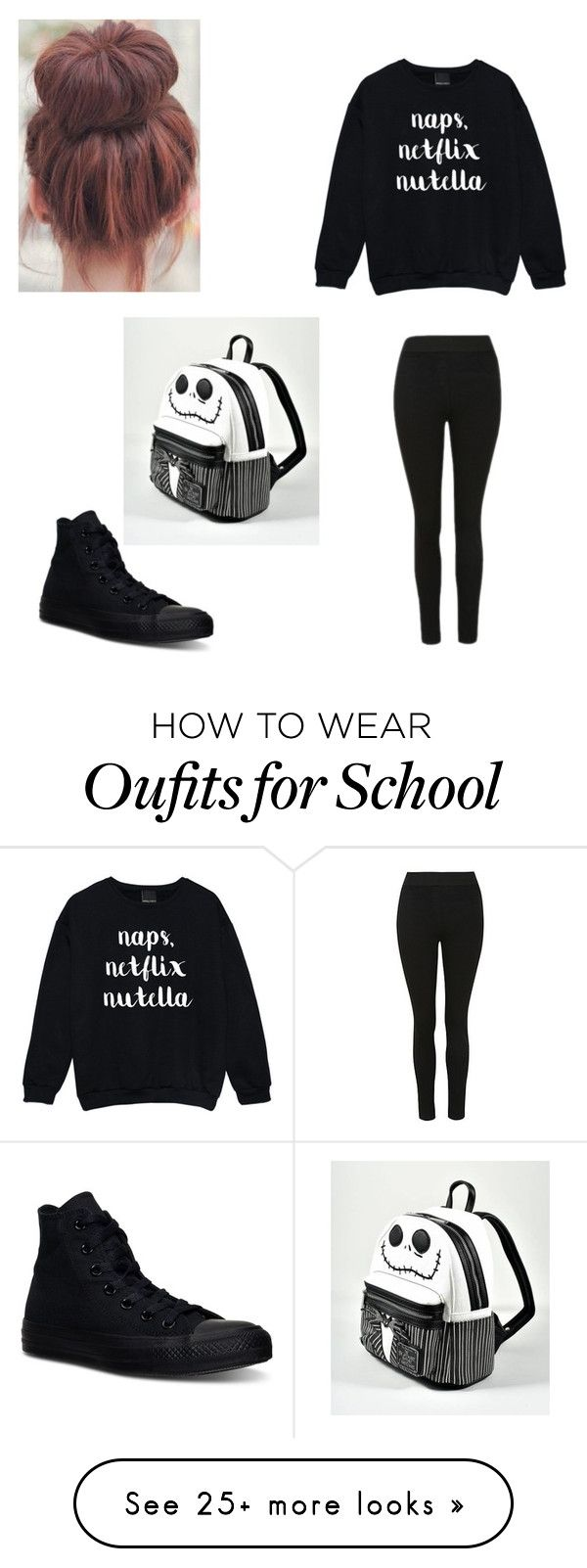 """School Outfit for trinity"" by averymullins13 on Polyvore featuring Converse and Loungefly"