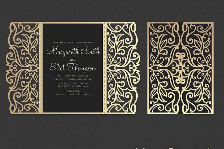 Gate Fold Wedding Invitation 5x7 Cricut Template